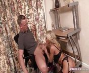 PURE XXX FILMS Busty Blonde Milf milks a cock from xxx snial